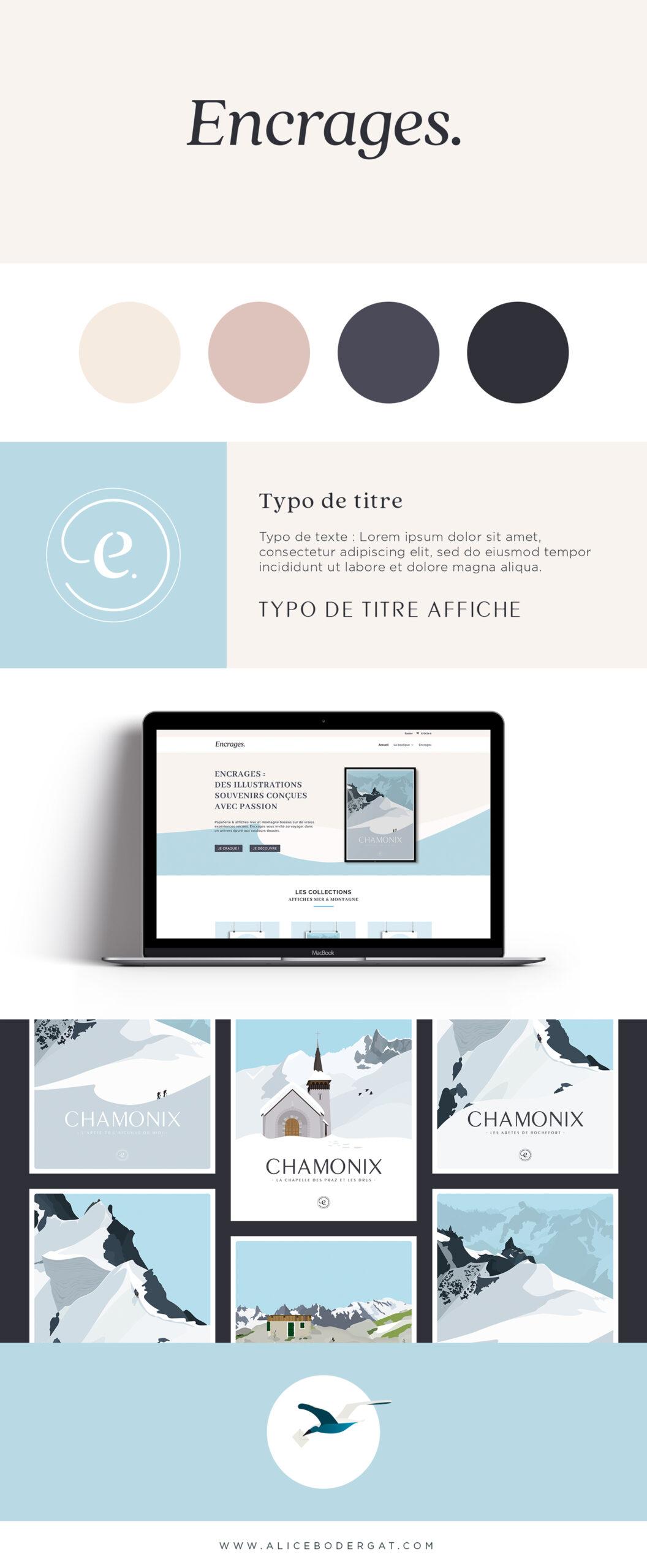 Présentation de la marque Encrages : logo, couleurs et typographie, site e-commerce, affiches voyage