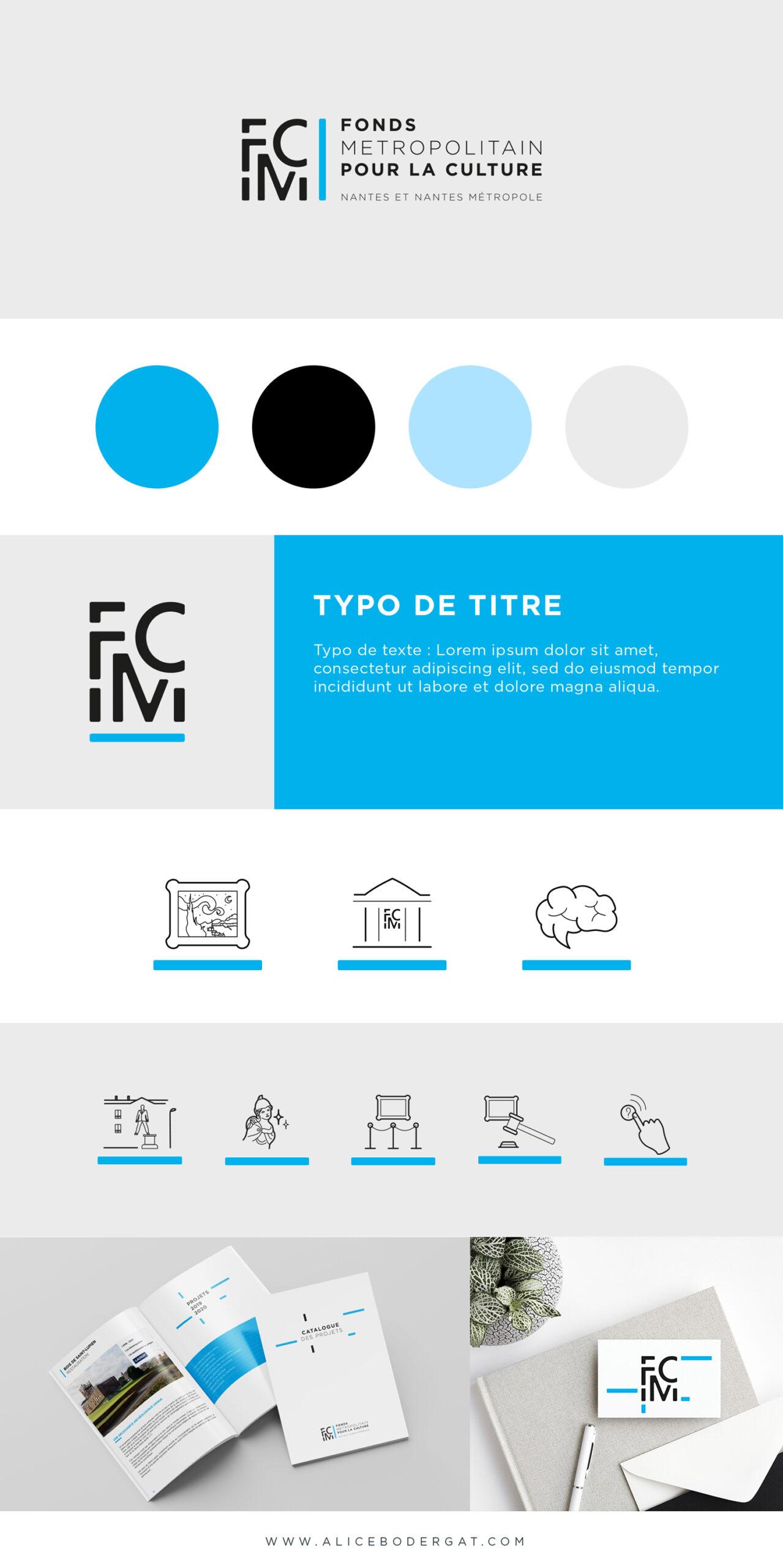 Présentation de la marque FMC : identité visuelle, logo, couleurs, typographies, pictogrammes et branding