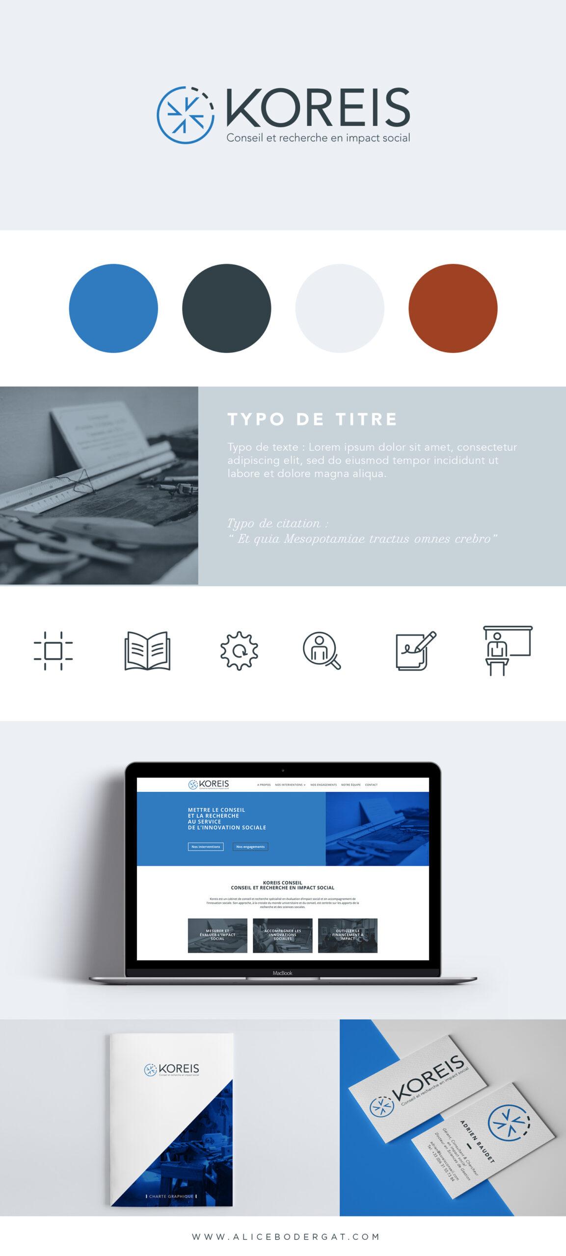 Présentation de l'identité visuelle conçue pour Koreis. Création d'un logo et d'une identité visuelle, direction artistique et design web