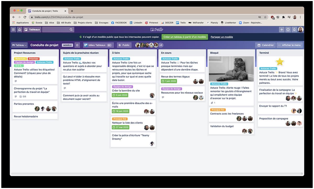 capture modèle de tableau Trello - outil pour organisation sa communication
